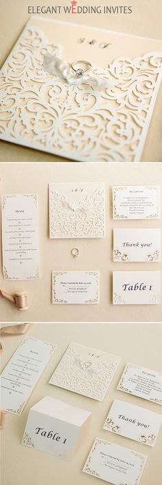 ivory laser cut pocket ribon bow wedding invites with matching enclosure cards