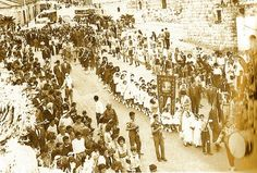 Ramallah-رام الله: RAMALLAH - The little girls in white participate in a Sabt el-Nur (Saturday of Light) procession, Ramallah (ca. 1951-5...