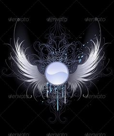 Illustration of round blue banner with artistically painted white angel wings on a black background decorated with a pattern and blue paint. vector art, clipart and stock vectors. Angel Wings Drawing, Angel Wings Painting, Angel Art, Wings Wallpaper, White Angel Wings, Vector Art, Image Vector, Vector Stock, Black Backgrounds