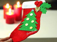 Keçe yılbaşı çorabı - Felt Christmas Sock craft