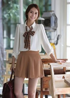 clean look korean fashion white top brown skirt