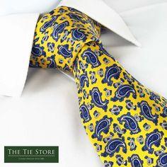 Yellow Paisley Printed Silk Tie @ The Tie Store