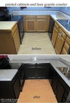 Peeling laminate off cabinets and painting underneath who knew you before and after with faux granite countertops and using beadboard wallpaper on cabinets giy goth it yourself kitchen makeover faux granite counter solutioingenieria Gallery