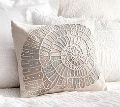 Embellished Shell Pillow Cover