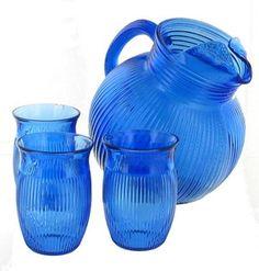 Vintage Hazel Atlas Depression Glass Pitcher & Glass Set, Cobalt Blue
