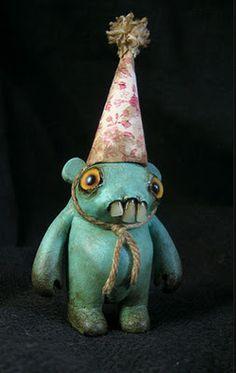 """a Dust Bunnie doll """"YOKA"""" created by Amanda Louise Spayd. Creepy Toys, Creepy Cute, Clay Monsters, Little Monsters, Ugly Dolls, Cute Dolls, Creepy Monster, Monster Dolls, Doll Repaint"""