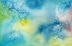 water color in blues with green and yellow highlights