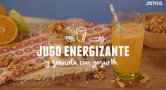 Jugo energizante y granola con yogurth