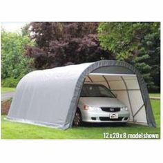 ShelterLogic Round-Style Instant Garage – x x 1 Frame, Gray, Model# 76632 Hiking Tent, Camping And Hiking, Instant Garage, Car Shelter, Rib Boat, Boat Covers, Garden Canopy, Garden Equipment, Shed Storage