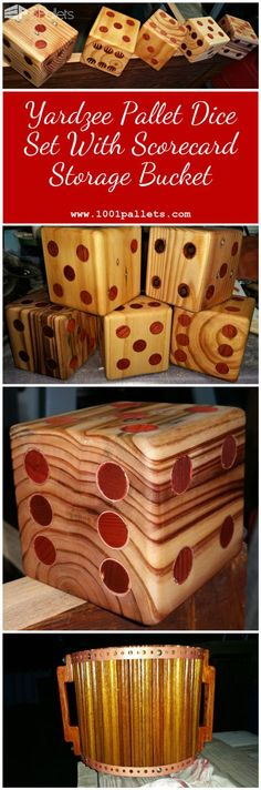 #Dice, #FamilyFun, #Outdoors, #PalletBucket, #PalletDice, #PalletDiyProjects, #PalletGames Put those electronics aside and have a family fun night with this Yardzee Pallet Dice Set, complete with an upcycled, 80-yr-old oak storage bucket and acrylic, reusable scorecard. Yardzee Pallet Dice Set: I made this dice set from pallet blocks