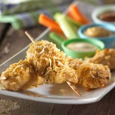 Barbecue sauce, ranch salad dressing or honey-mustard salad dressing all make great dipping sauces for these Parmesan-crisped chicken strips.