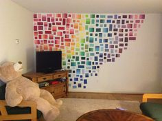 My roommates and I decided to decorate our college apartment with paint samples!