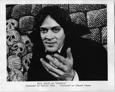 Raul Julia as Count Dracula in the 1977 production with backgrounds by Edward Gorey