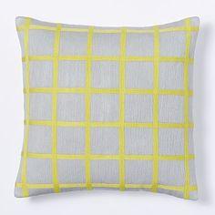 Crewel Windowpane Pillow Cover - Frost Gray/ Sun Yellow #westelm $25