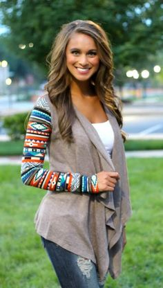 The Pink Lily Boutique - Aztec Sleeve Cardigan- Mocha, $40.00 (http://thepinklilyboutique.com/aztec-sleeve-cardigan-mocha/)