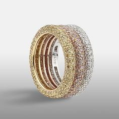 5.20ct Pave Set Pink, Yellow & White Diamond Bombé Ring in 18ct Gold