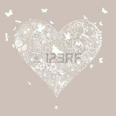 White wedding heart on a grey background  A vector illustration