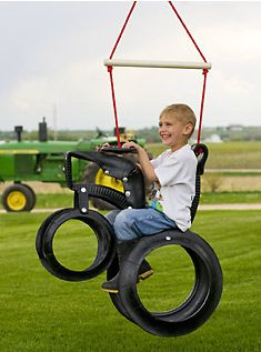 Tractor tire swing....we love our john deere! Hey Libby....this is PERFECT for you!!! :))