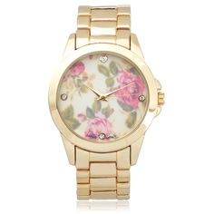 Geneva Platinum Stainless Steel Rhinestone Floral Dial Link Watch | Overstock.com Shopping - The Best Deals on Geneva Women's Watches