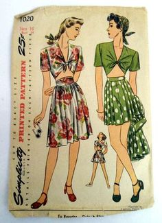 Vintage 1940s Dress Simplicity Sewing Pattern 1020 Forties Playsuit Top Shorts | eBay