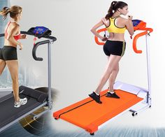 New 1100W Folding Electric Treadmill Portable Motorized Running Machine Orange…