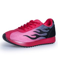 Size 35-40 Spring Women Causal Shoes Sport Breathable Trainers Red Flat With Ladies Shoes Lace Up Outdoor Walking Shoes S268