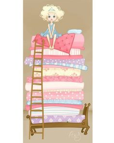 Items similar to Princess and the Pea - on Etsy Princess And The Pea, Illustrations, Nursery Rhymes, Female Art, Home Art, Fairy Tales, Artsy, Art Prints, Disney Princess