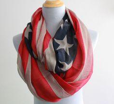 Kahki American Flag Infinity Scarf Cute star bangled banner loop scarf Red and Blue star infinity Scarf Star Eternity Scarf