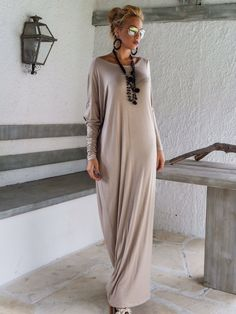 Beige Maxi Long Sleeve Dress / Beige Kaftan / by SynthiaCouture