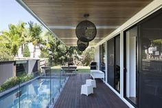 container house with balcony and swimming pool