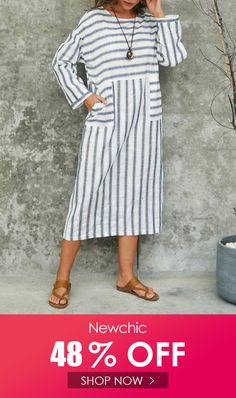 I found this amazing Striped Long Sleeve O-neck Casual Midi Dress with US$26.99,and 14 days return or refund guarantee protect to us. --Newchic #Womensdresses #womendresses #womenapparel #womensclothing #womensclothes #fashion #onlineshop #onlineshopping #bigdiscount #shopnow #DiscountSale #discountprices #discountstore #discountclothing #fashionista #fashionable #fashionstyle #fashionpost #fashionlover #fashiondesign #fashionkids #fashiondaily #fashionstylist #fashiongirl Lace Summer Dresses, Casual Dresses For Teens, Modest Dresses, Day Dresses, Dresses For Work, Long Black Bodycon Dress, Sexy Backless Dress, Clothes For Sale, Boho Dress