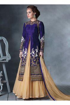 Salwarweb-Purple Bhagalpuri Silk Wedding Wear Embroidery Border Work Anarkali Suit