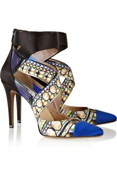 Nicholas Kirkwood printed satin, patent-leather and PVC sandals #Bestsellers