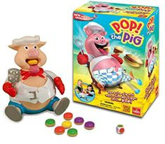 Pop the Pig Game - New and Improved - Belly-Busting Fun as You Feed Him Burgers and Watch His Belly Grow Goliath Games Family Game Night, Family Games, Games For Kids, Games To Play, Pigs For Sale, Pig Games, Caleb, Preschool Games, Kindergarten Games
