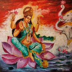 Buy Maha Lakshmi artwork number a famous painting by an Indian Artist Arjun Das. Indian Art Ideas offer contemporary and modern art at reasonable price. Lakshmi Images, Divine Mother, Indian Artist, Sacred Art, Horse Photography, Lord Shiva, Hinduism, Beautiful Horses, Goddesses