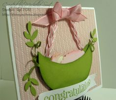 """""""Sweet Pea in a Pod"""" Punch Art Card by pixiedustmom - Cards and Paper Crafts at Splitcoaststampers"""