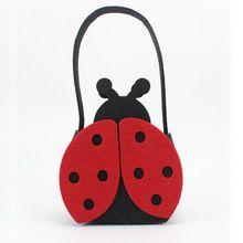 2087 diseño niños fieltro mariquita bolso y bolsa recogida de juguetes de asas preciosa para su chica(China (Mainland))