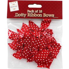 Red Dotty Ribbon Bows - Pack Of 18    Wedding - Cards, Crafts, Gifts, Photo Albums and more! at The Works