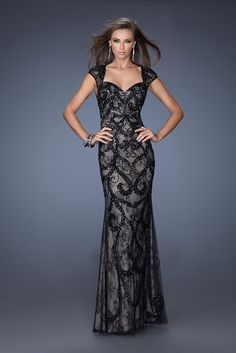 Long black & nude dress with lace overlay and sweetheart neckline 80028 | Catherines of Partick