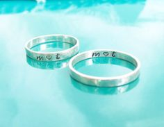 This is a pair of dainty sterling silver personalized stamped rings. Custom Promise Rings, Promise Rings For Couples, Silver Rings With Stones, Sterling Silver Rings, Silver Jewelry, Diamond Jewelry, Glass Jewelry, Silver Earrings, Jewellery