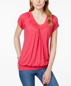JM Collection Short-Sleeve V-Neck Banded-Hem Top, Only at Macy's