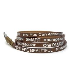 Look at this #zulilyfind! Mocha 'You Are Beautiful' Leather Wrap Bracelet by Good Work(s) Make A Difference #zulilyfinds