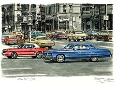 Lots of american cars on the streets of NY City - drawings and paintings by Stephen Wiltshire MBE