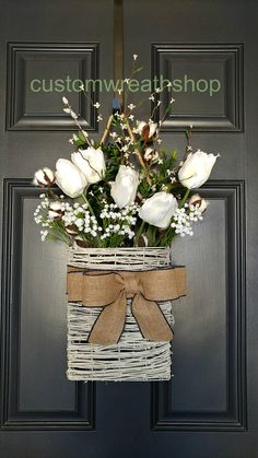 Spring Wreath, Farmhouse Wall Décor , Tulip Wreath, Front Door Basket, Rustic Décor , Mothers Day, Wedding Wreath, Rustic Wreath,Grapevine Wreath ,White Tulip Basket There are so many options when it comes to decorating with rustic wood signs, too. Whether you're looking for
