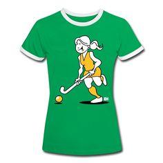 Hockey meisje op een T-Shirt uit de Hockey Shirt shop door Tekenaartje. #hockey #Spreadshirt