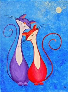 """Original Fantasy Cat Acrylic Painting for Sale """"Cats in Love"""" – My Wallpapers Page Art Fantaisiste, Cat Colors, Cat Drawing, Whimsical Art, Art Auction, Paintings For Sale, Medium Art, Oeuvre D'art, Cat Love"""