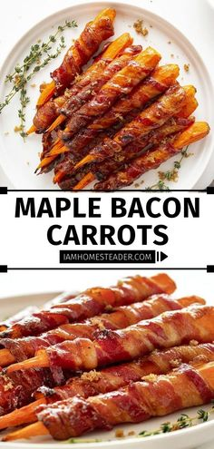 These are different from the standard appetizer or side dish! Maple Bacon Carrots are easy to make. With just 3 ingredients, you can have a delicious treat with the perfect combination of sweet and salty! Perfect for sharing on Thanksgiving! Pin this recipe for later!
