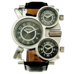 YESURPRISE OULM ボーイズ&メンズウォッチ 合金ケース ブラック&皮革バンド ファション クオーツ  男性用 腕時計