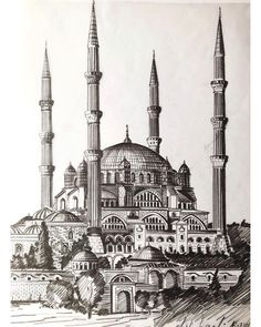 beautiful drawing of Selimiye Mosque, Istanbul by - Blumen Watercolor Architecture, Sacred Architecture, Famous Buildings, Islamic Paintings, Building Sketch, Birds Of America, Tinta China, Turkish Art, Hagia Sophia