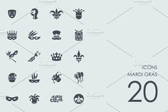 Ad: Mardi gras icons by Palau on Set of simple Icons. - Fully editable vector file saved as - In .eps file is expanded. Set contains: - 1 vector file - 1 Web Design Icon, App Design, Free Design, Graphic Design, Business Icon, Business Brochure, Business Card Logo, Business Illustration, Pencil Illustration